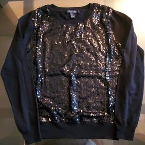 Forever 21 Sequinced Black Long Sleeve Top